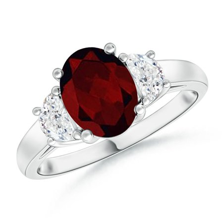 Valentine Jewelry Gift - Three Stone Oval Garnet and Half Moon Diamond Ring in Platinum (8x6mm Garnet) - SR0212GD-PT-A-8x6-6