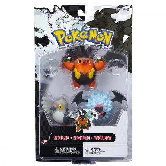 Pokemon Series 3 Basic Pignite, Woobat & Pidove Figure 3-Pack