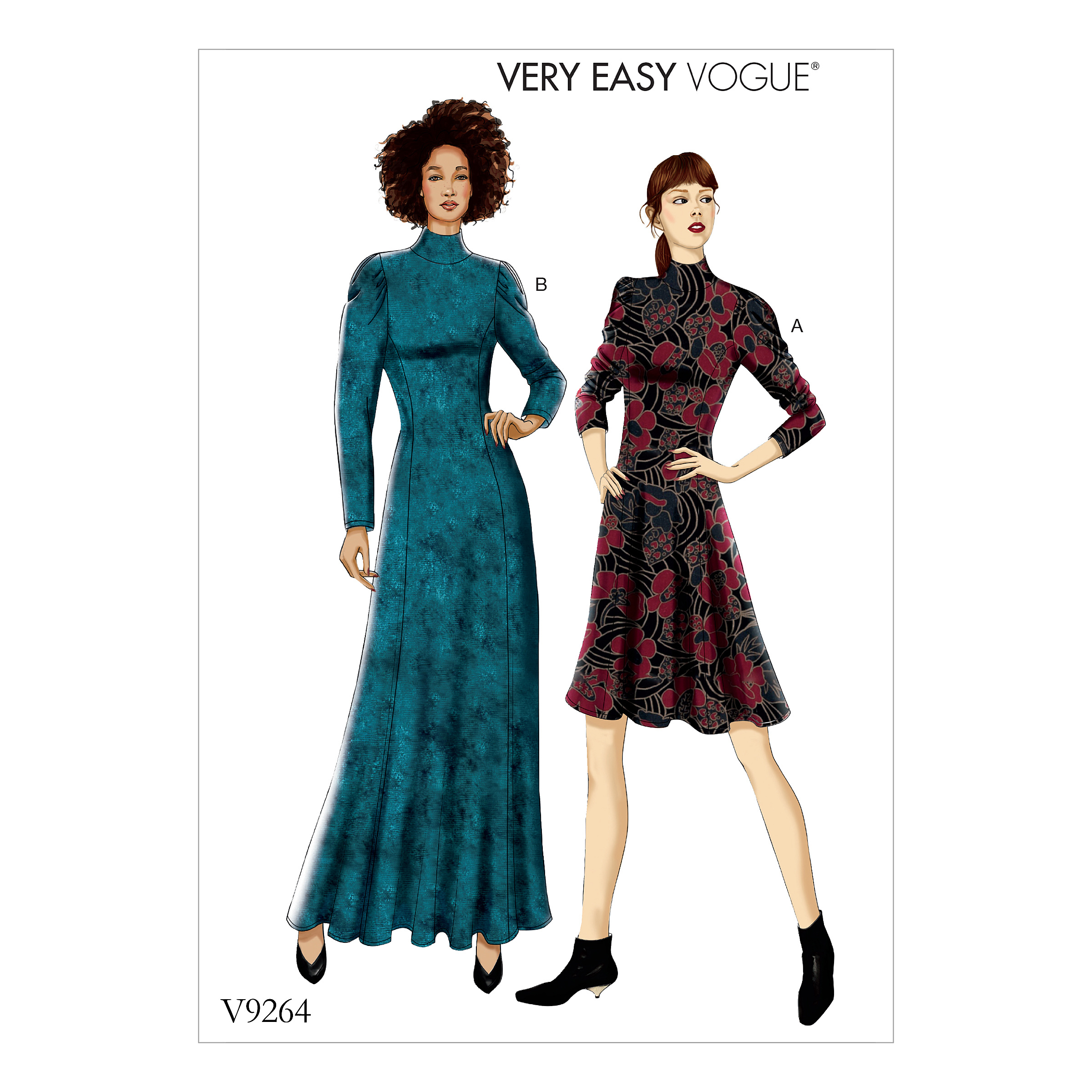 Vogue Patterns Sewing Pattern MISSES'/MISSES' PETITE KNIT, FIT-AND-FLARE DRESSES-6-8-10-12-14