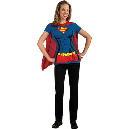 Supergirl Adult Halloween Shirt Costume - Simple Halloween Adult Costumes
