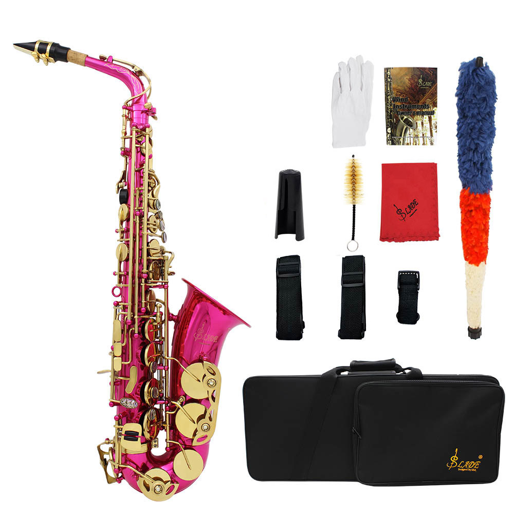 LADE High F# Brass Engraved Eb E-Flat Alto Saxophone Sax Abalone Shell Buttons Wind Instrument