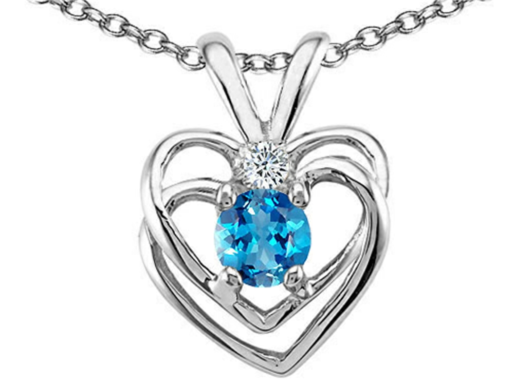 Tommaso Design Round 4mm Genuine Blue Topaz Heart Pendant Necklace by
