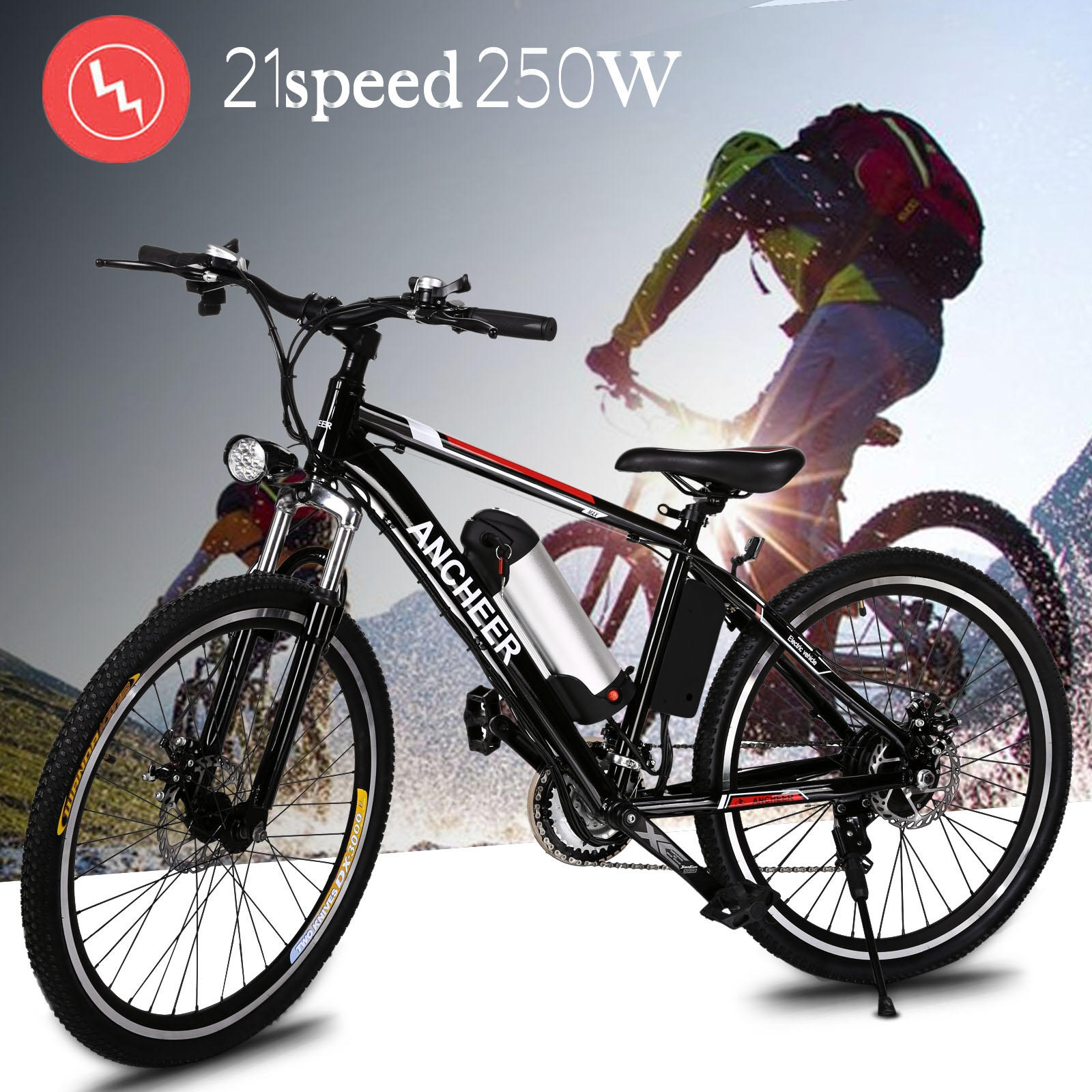 US Warehouse Shipping! 21-speed Men 250W Electric Mountain Bike Cycling Bicycle E bike Black BTC