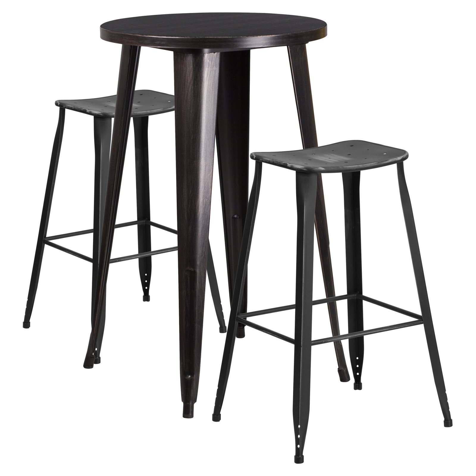 Flash Furniture 24'' Round Black-Antique Gold Metal Indoor-Outdoor Bar Table Set with 2 Distressed Backless Saddle Seat Barstools