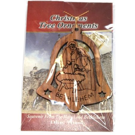 Holy Family in bell nativity scene Ornament gift carved by Laser - Olive wood ( 7 cm or 2.8 inch with -