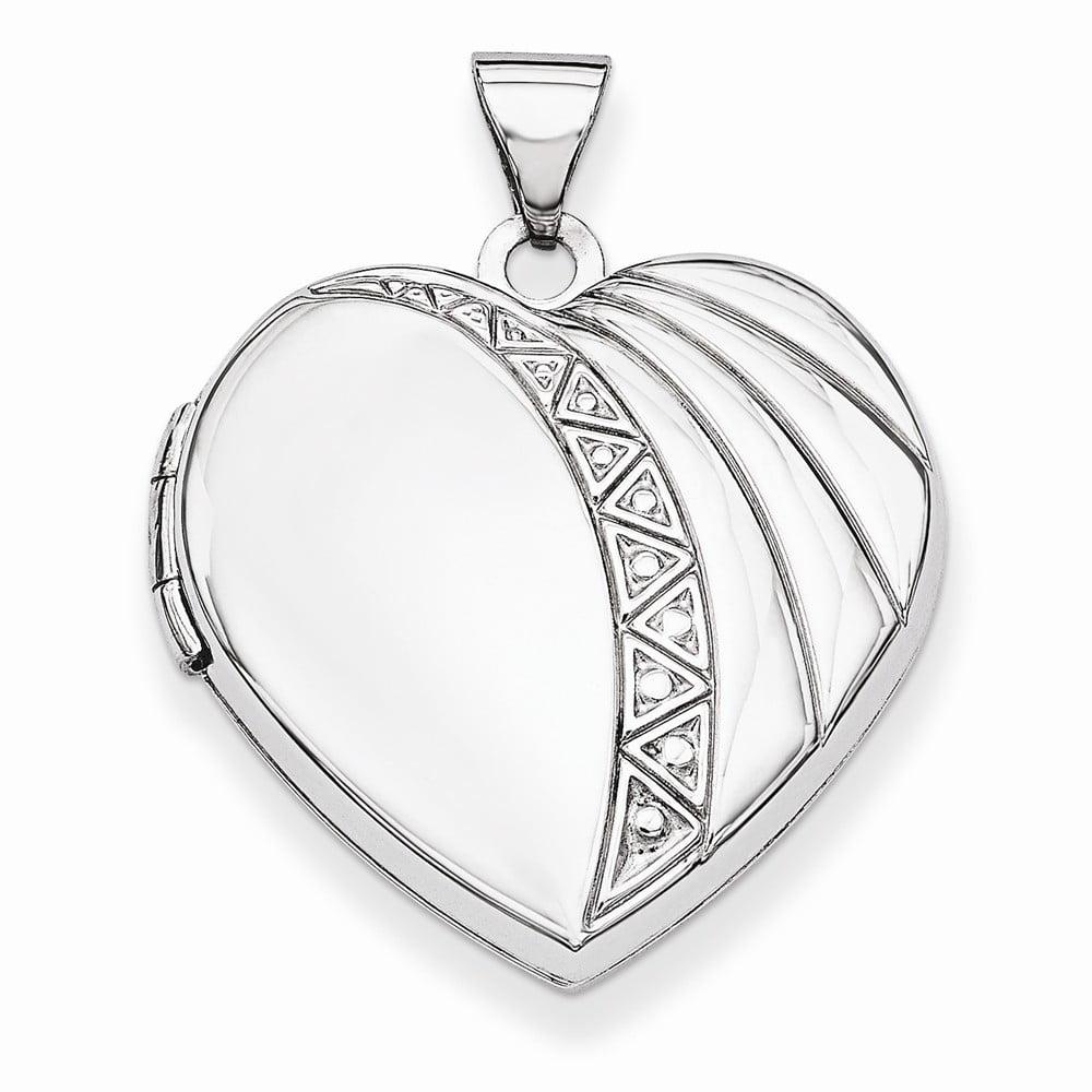 925 Sterling Silver Heart Geometric Drape Detail Locket Charm - 21mm