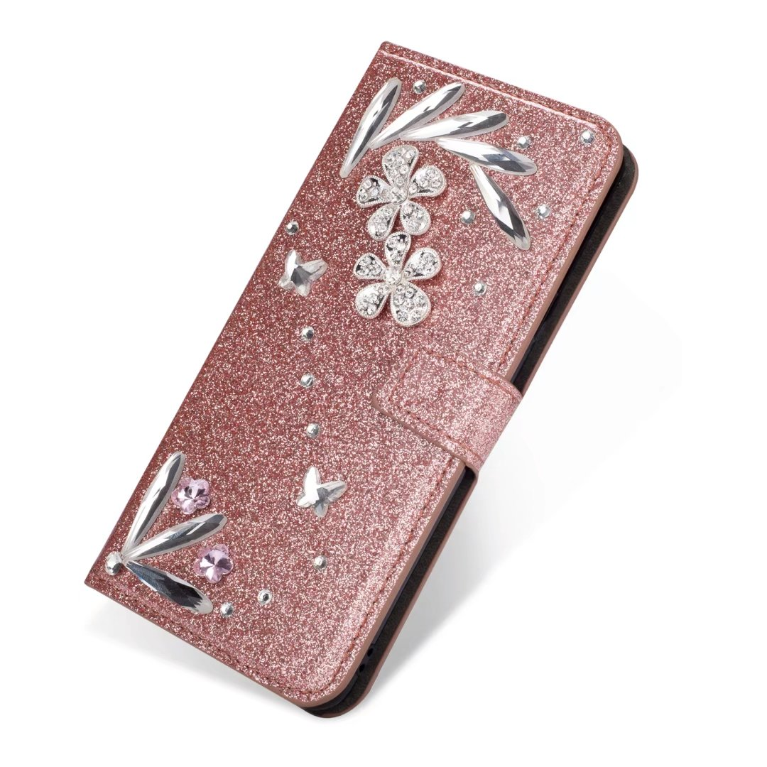 For Samsung Galaxy S9 Plus Diamond Feather Glitter Leather Magnetic Flip Wallet Case Cover, Rose Gold