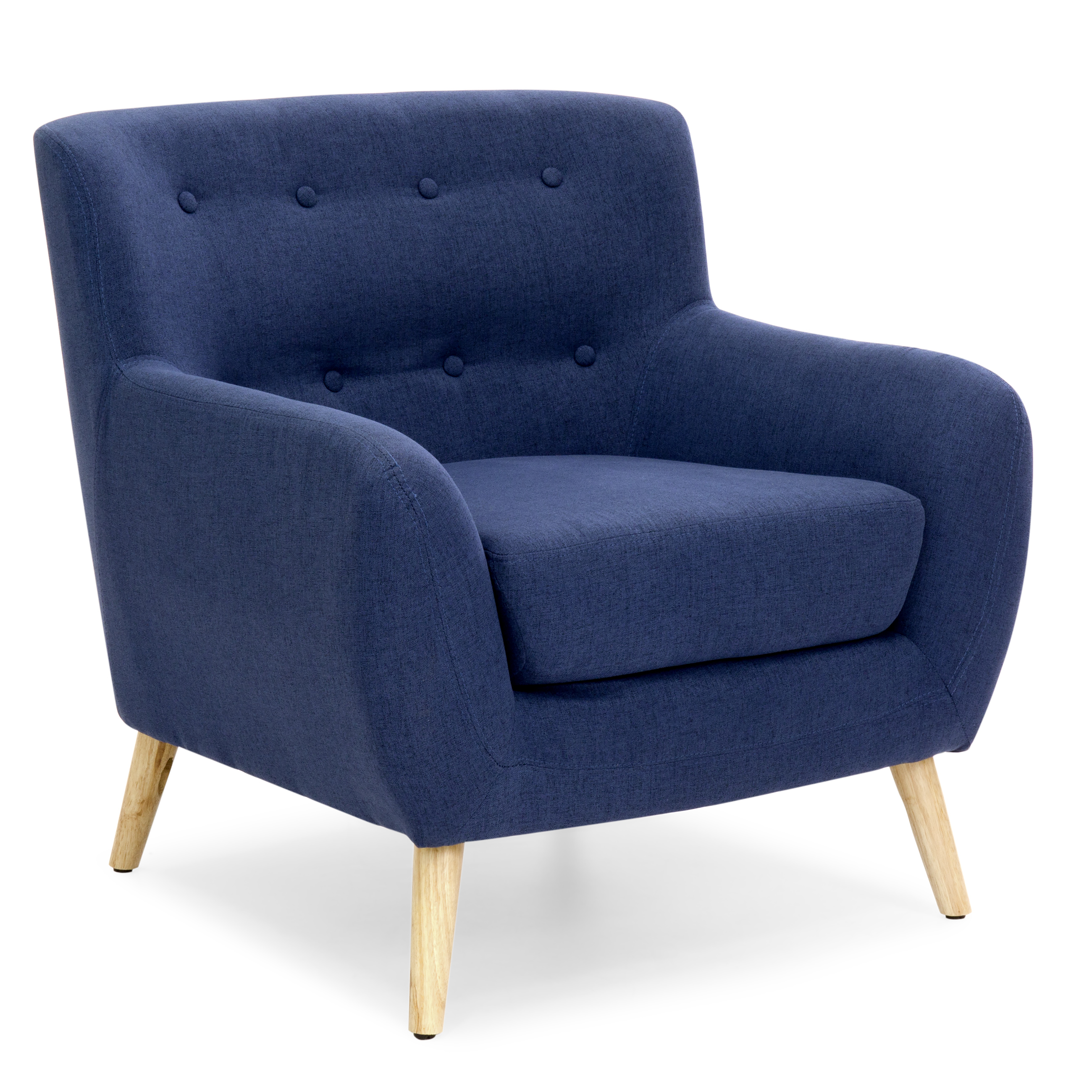 Best Choice Products Mid-Century Modern Upholstered Tufted Accent Chair (Dark Blue) by Best Choice Products