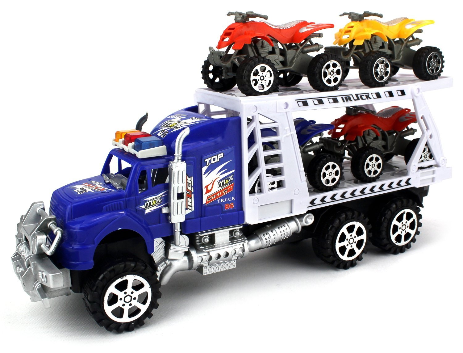ATV Transporter Trailer Children's Friction Toy Truck Ready To Run w  4 Toy ATVs, No... by Velocity Toys
