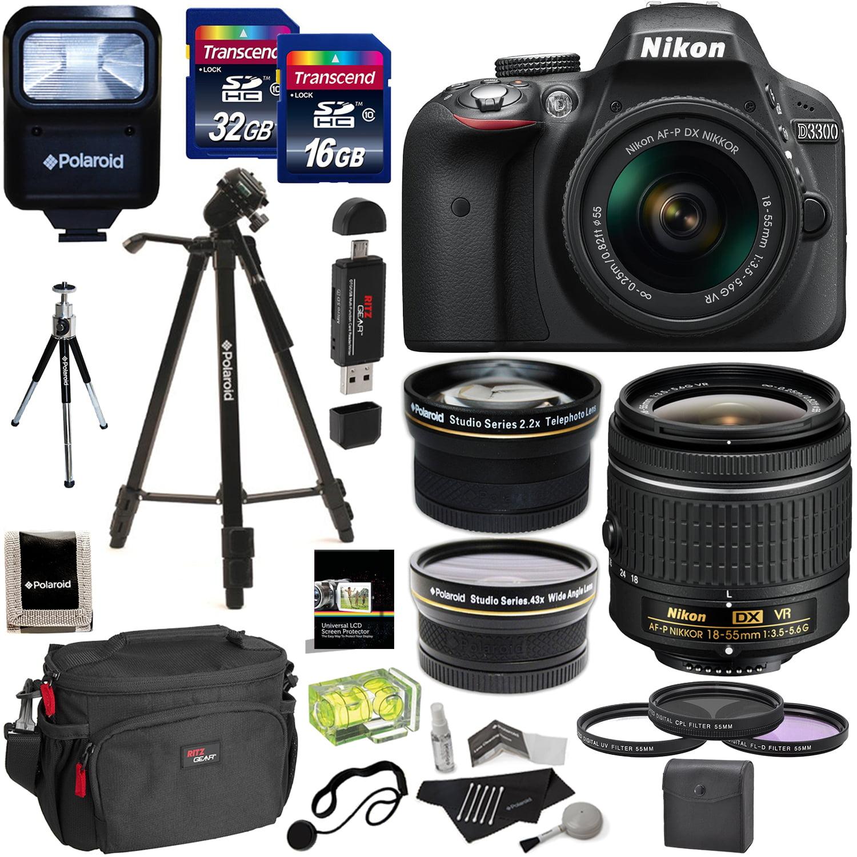 Nikon D3300 AF-P Digital SLR Camera with 18-55mm DX VR II Zoom Lens, Transcend 32GB, 16GB, ...