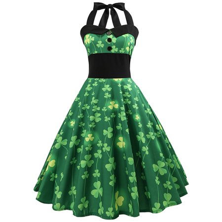 DYMADE Women's St. Patrick's Day Costume Vintage Halter Floral Swing Cocktail Dress