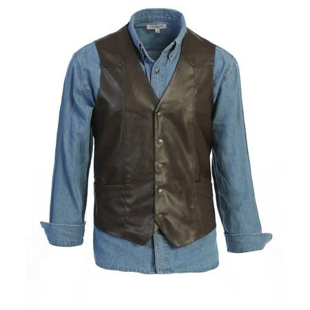 Gioberti Men's 5 Button Faux Leather Vest Flag Leather Vest