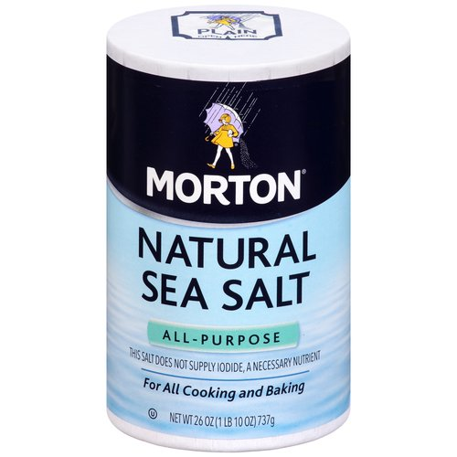 Morton Natural Sea Salt, 26 oz