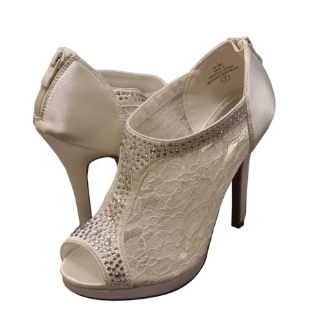 BLOSSOM Women's Yael 09 - Embellished Peep Toe Lace Booties
