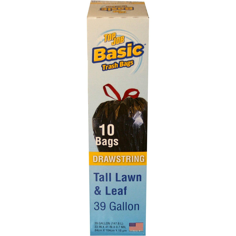(2 Pack) Top Job Basic Drawstring Tall Lawn & Leaf Bags, 39 gal, 10 count