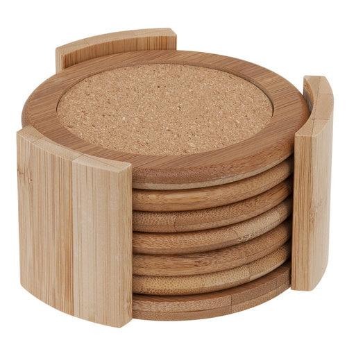 Mainstays 7pc Bamboo Coaster Set