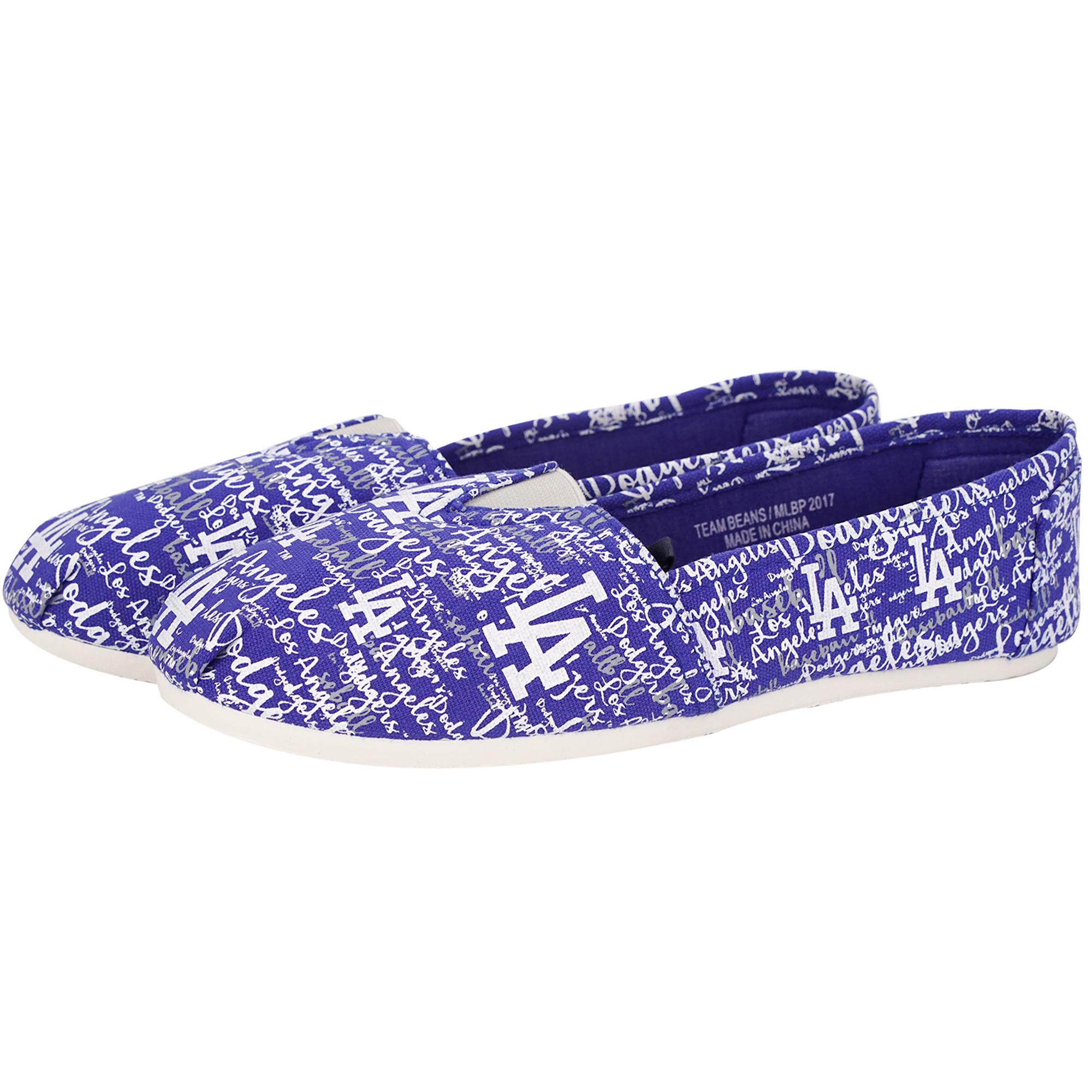 Los Angeles Dodgers Women's Script Canvas Shoes - Royal