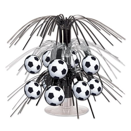 Club Pack of 12 Black and Silver Soccer Ball Miniature Cascade Centerpieces Party Decorations 7.5