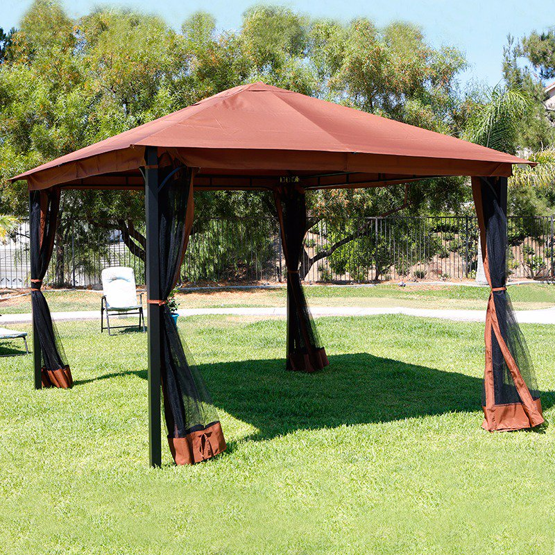 10u0027 X 12u0027 Outdoor Backyard Regency Patio Canopy Gazebo Tent, With Netting