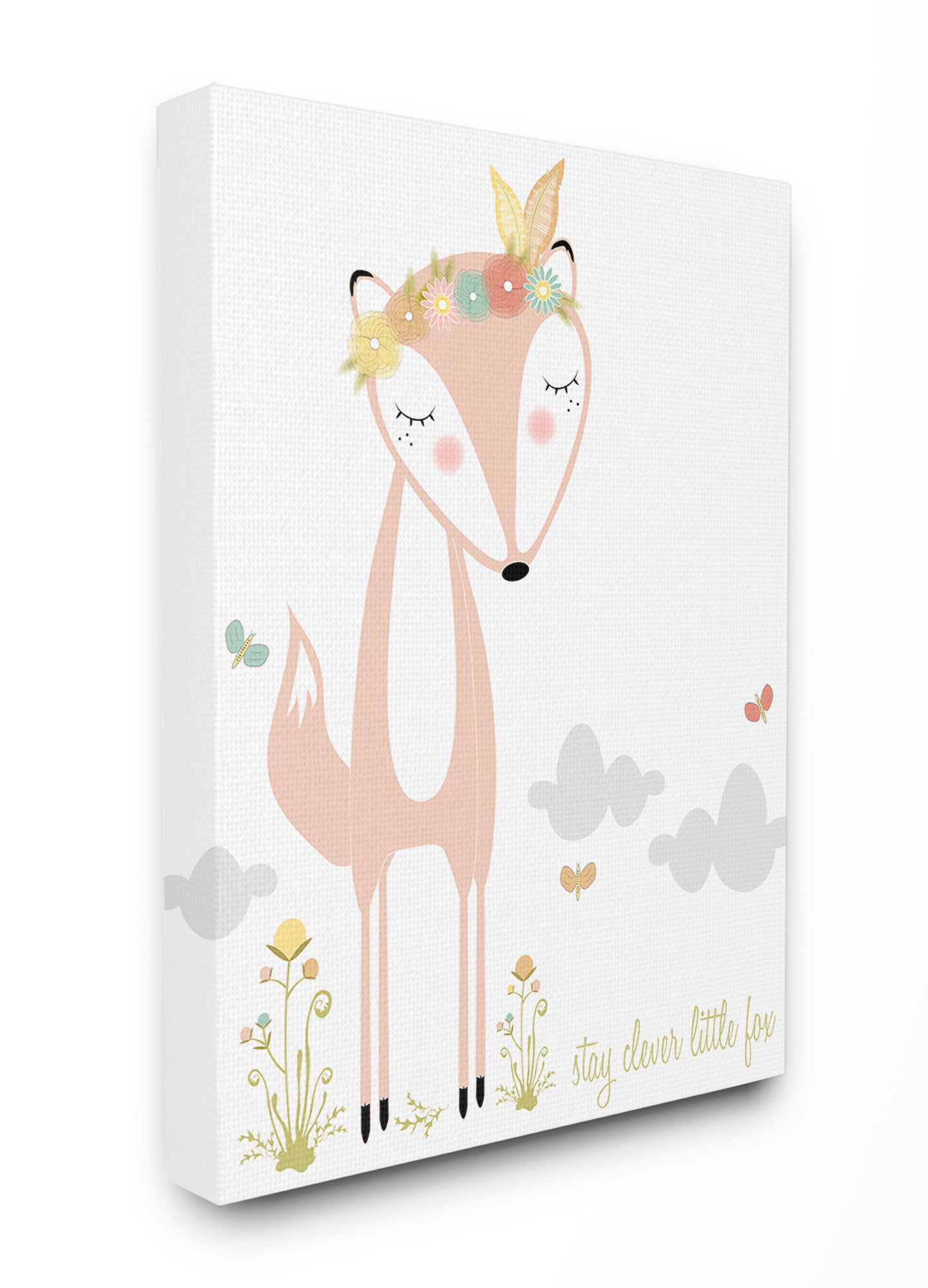 The Kids Room By Stupell Peach Floral And Feathered Stay Clever Little Fox Stretched Canvas Wall Art 16 X 1 5 X 20 Walmart Com Walmart Com