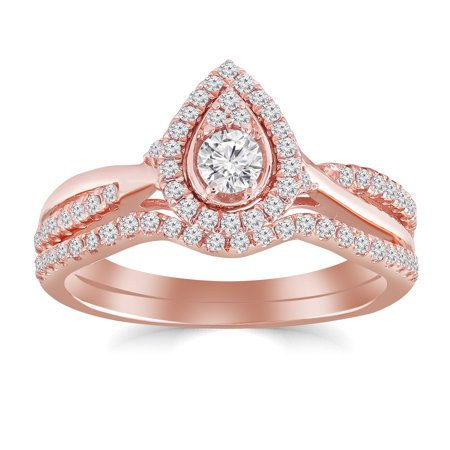 1/2 cttw Pear Shape Halo Diamond Bridal Ring Set with Twist Shank and Contour Band (I-J, I2-I3) in 10K Rose Gold for Engagement and Wedding Center Diamond Wedding Set
