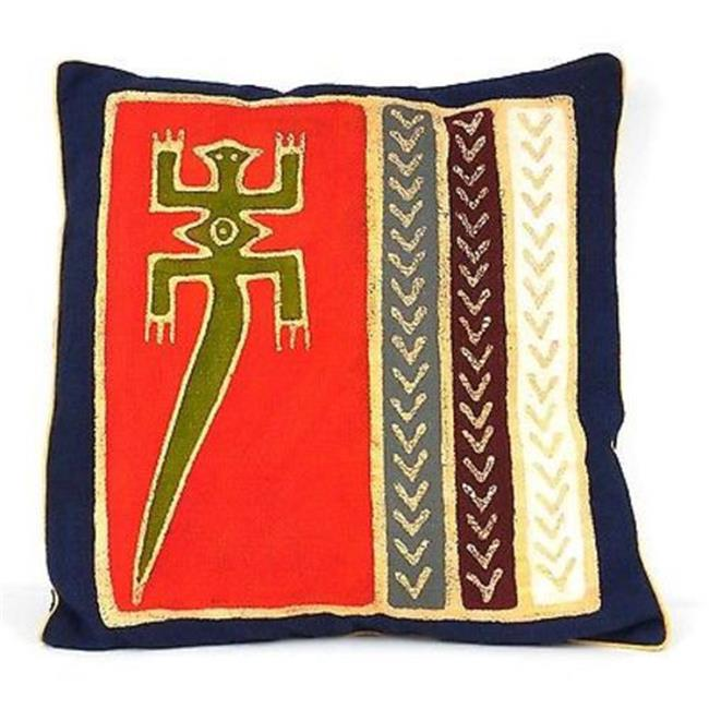 Tonga Textiles Handmade Red Lizard Batik Cushion Cover