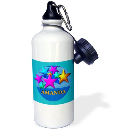 3dRose Vibrant colored stars on a blue background personalized with the name AMANDA, Sports Water Bottle, 21oz