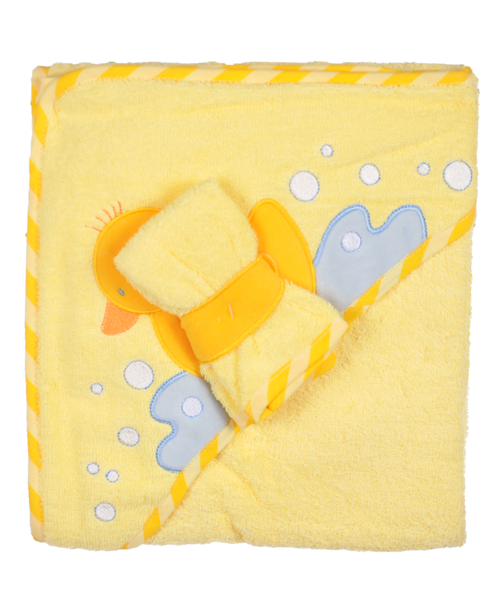 """Splash Duck"" Hooded Towel with Washcloth by Luvable Friends"