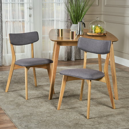 Molly Mid Century Modern Fabric Dining Chairs with Rubberwood Frame, Set of 2, Dark Grey and Natural - Providence Oak Natural