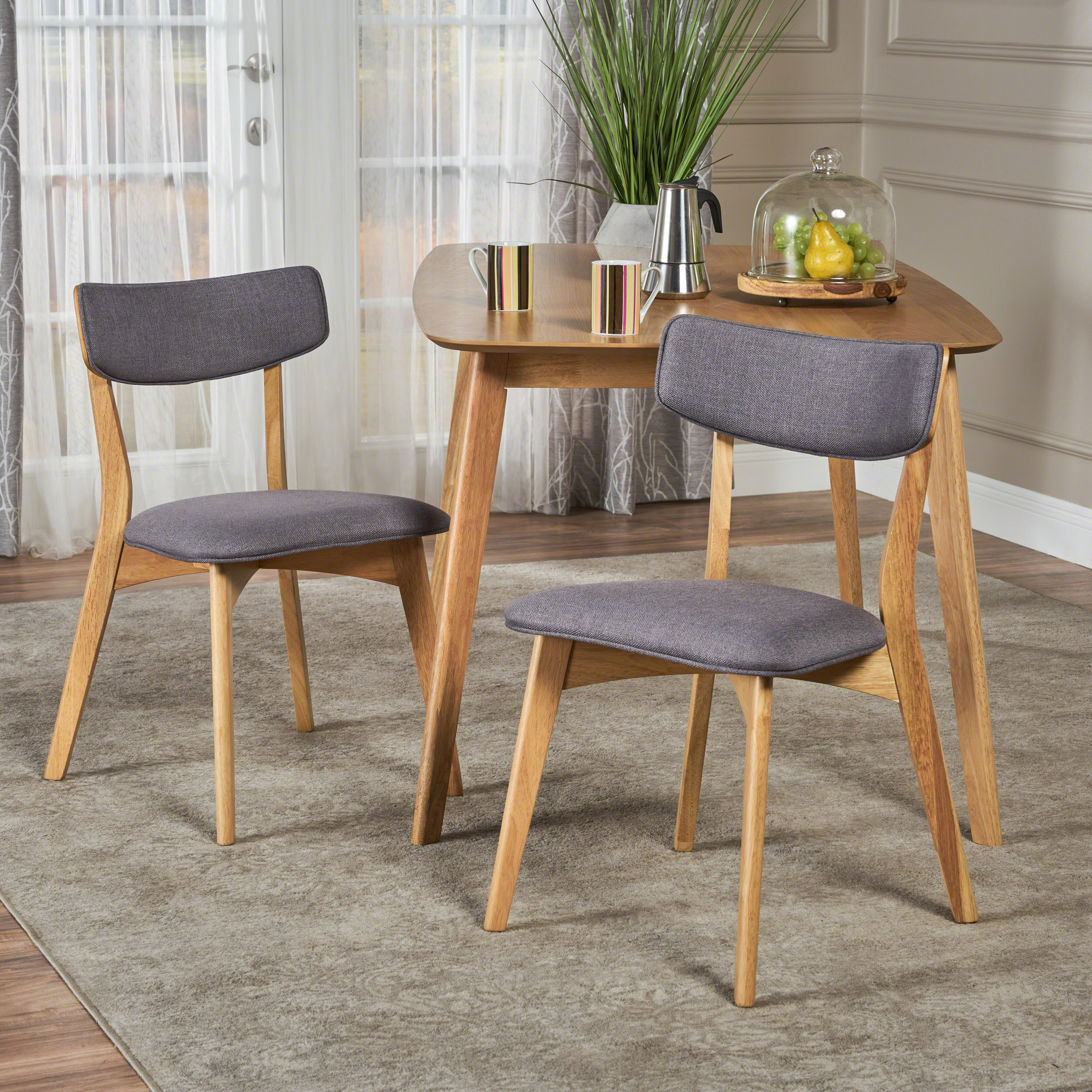 Molly Mid Century Modern Fabric Dining Chairs with Rubberwood Frame, Set of 2, Dark Grey and Natural Oak