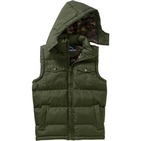 Climate Concepts Boys' Camo Lined Cargo Pocket Bubble Vest thumbnail