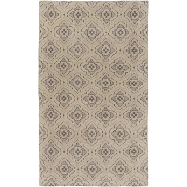 5' x 8' Egyptian Bloom Khaki Brown and Charcoal Gray Area Throw Rug