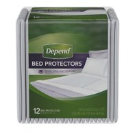 Depend Incontinence Bed Protectors, Disposable Underpad, Overnight Absorbency, 12 Ct