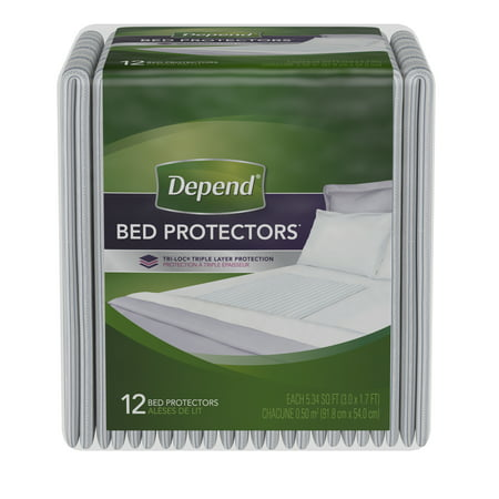 (3 pack) Depend Incontinence Bed Protectors, Disposable Underpad, Overnight Absorbency, 12 Count ()