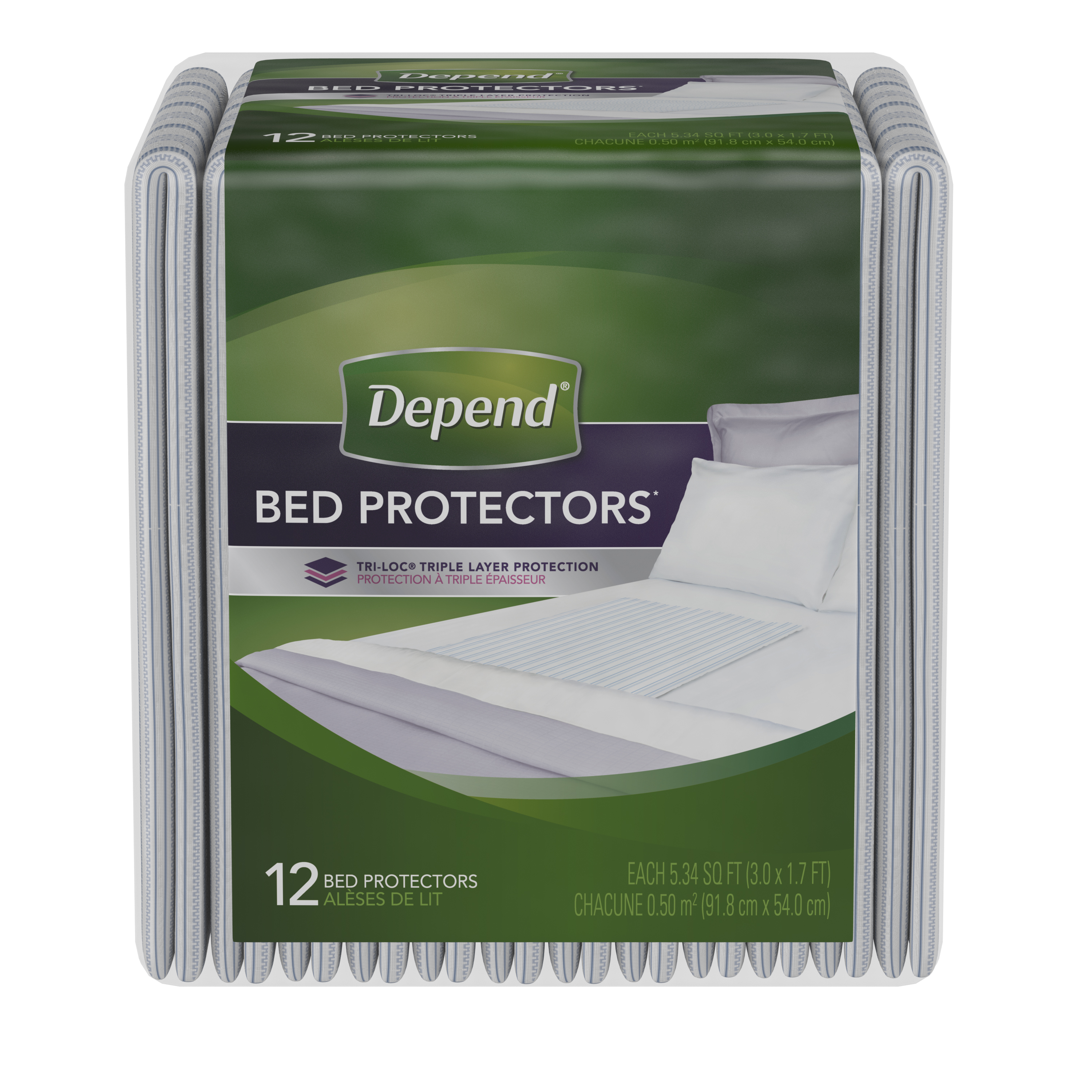 (3 pack) Depend Incontinence Bed Protectors, Disposable Underpad, Overnight Absorbency, 12 Count