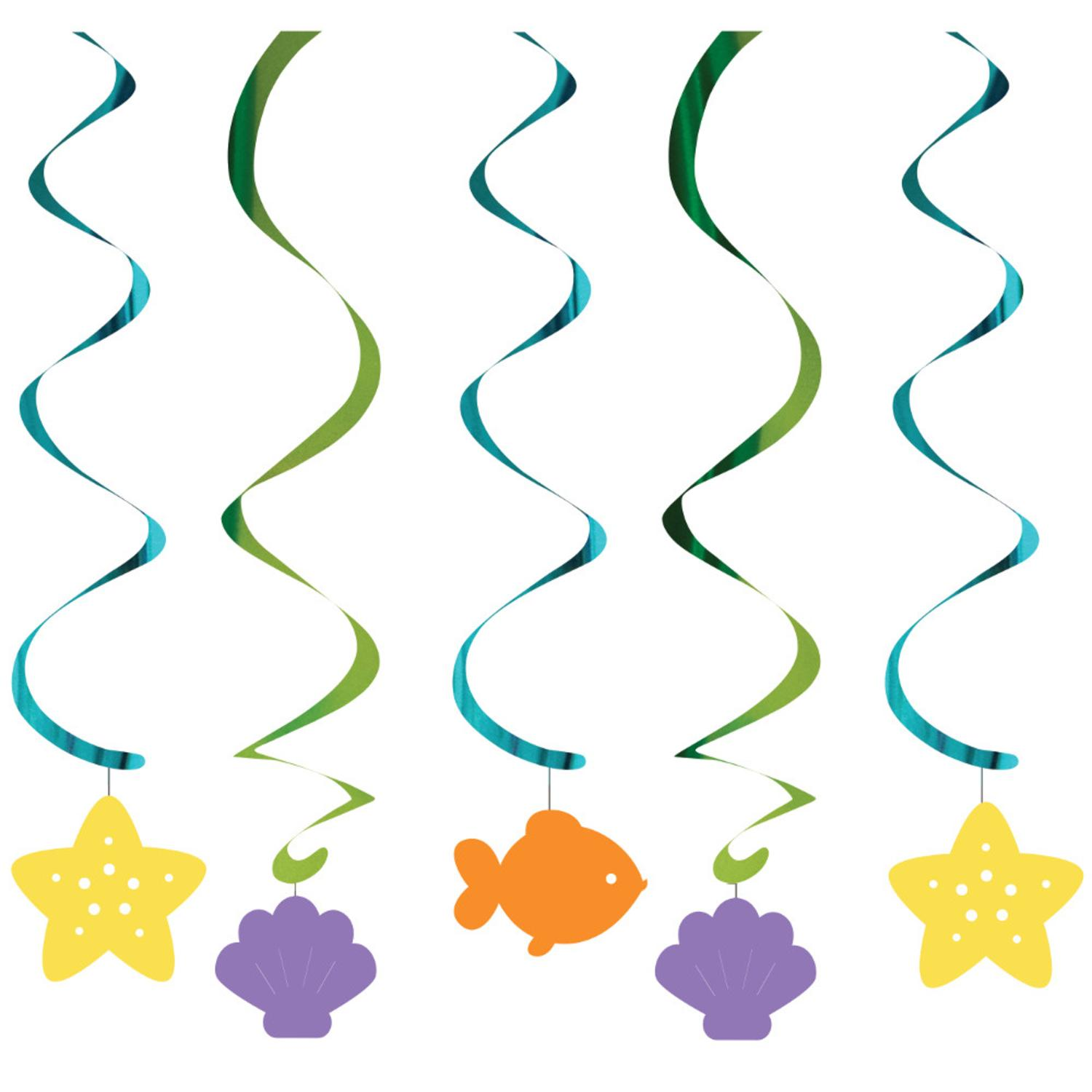 Club Pack of 30 Mermaid Friends Assorted Dizzy Danglers Hanging Party Decorations 32""