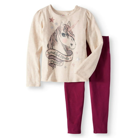 Girls' Long Sleeve Graphic Tee & Knit Denim Jeggings, 2pc Outfit Set
