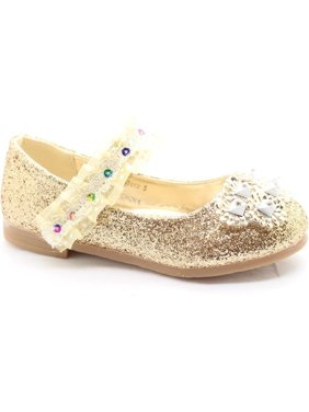 ca0f5847ccb4 Product Image Little Girls Gold Glitter Lace Sequin Stone Adorned Dress  Shoes
