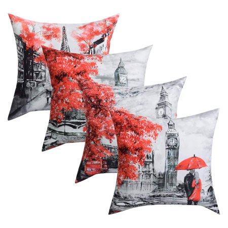Wendana Throw Pillow Covers Black & Red Color Eiffel Tower & Big Ben Modern Couple Under Square Throw Pillow Cover Decorative Pillow Case Home Decor 4 Packs 18