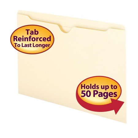 Smead File Jacket, Reinforced Tab, Flat-No Expansion, Legal Size, Manila, 100 per Box (76500) (Hanging Flat File Jackets)