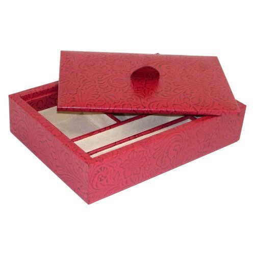 """Red """"Flower"""" Leather Multi Compartment Valet Tray & Lid"""