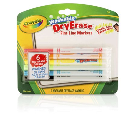Crayola Fine Line Washable Dry Erase Markers, 6 - Crayola Dry Erase Markers