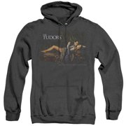 Trevco Sportswear SHO248-AHH-4 Tudors The King & His Queen Adult Heather Hoodie, Black - Extra Large