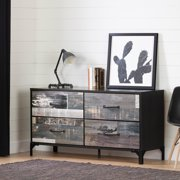 South Shore Valet 4-Drawer Double Dresser, Ebony and Factory Planks Effect