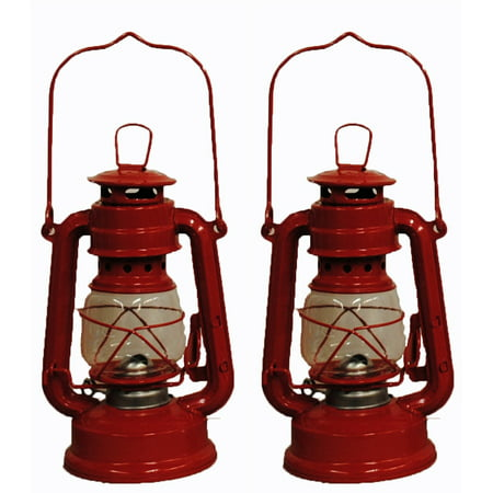 Lot of 2 - 8 Inch Red Hurricane Kerosene Oil Lantern Hanging Light / Lamp
