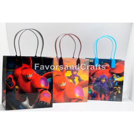 Big Birthday Pins (12 Big Hero Party Favor Bags Birthday Candy Treat Favors Gifts Plastic Bolsas De Recuerdo)