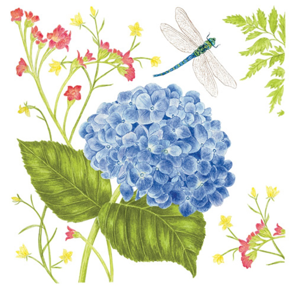 Alice's Cottage Blue Hydrangea Flour Sack Kitchen Towels (set of 2)