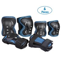 JBM 6 PCS Kids Protective Gear Set Bike Knee Pads and Elbow Pads w/ Wrist Guards Children Skate Cycling Sports Knee Elbow Protective Pads Gear Set (S/Blue)