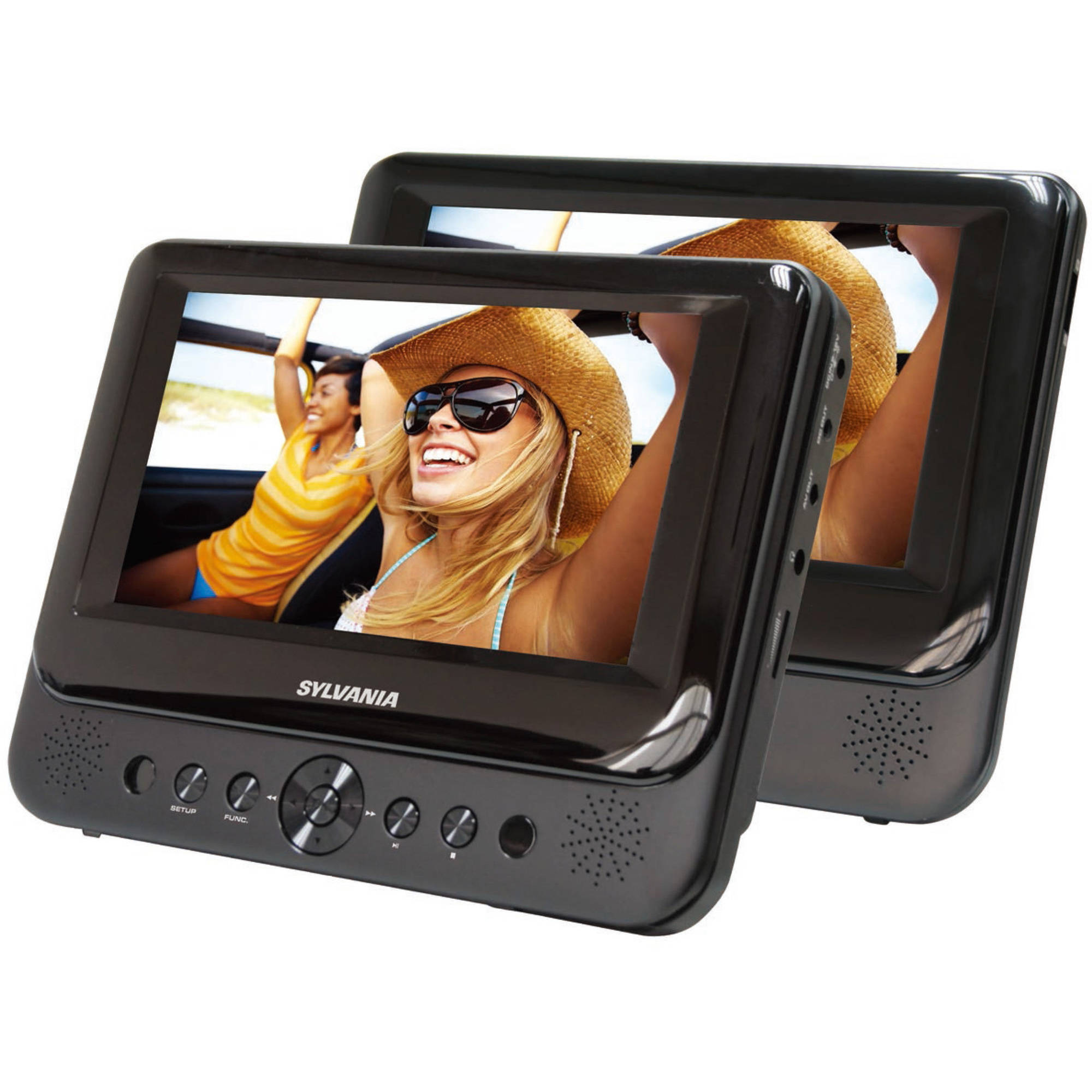 "Sylvania, 7"" Dual Screen Portable DVD Player, Black"