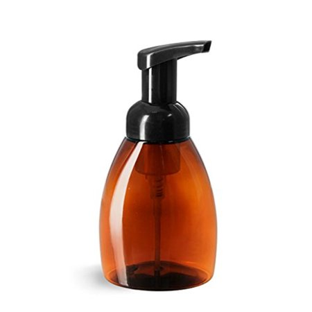 Save Money 2 New SCRATCHED and/or MARRED Foaming Hand Soap / Sanitizer  Dispenser 2 Pack Plastic Empty Amber Bottle Black Pump 25